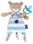 Doudou Attache-Sucette Pocket Friend Ourson bleu