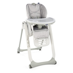 Chaise Haute Polly 2 Start 4 Roues - happy silver