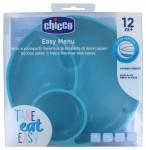 Plat à compartiments en silicone avec ventouse 12m+ bleu