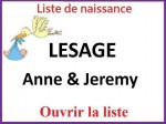 Liste de naissance Anne et Jeremy LESAGE