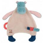 Doudou attache tétine hippopotame Les Papoum Moulin Roty