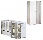 Lit chambre transformable 120x60 en 90x190 NAEL + armoire Sauthon