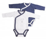 Lot de 2 bodies blanc/bleu MERLIN
